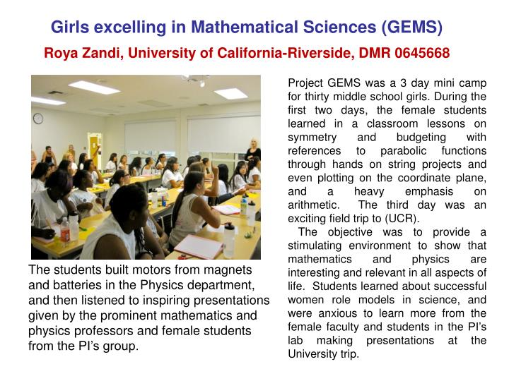Girls excelling in Mathematical Sciences (GEMS)