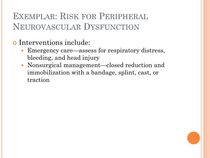 Exemplar: Risk for Peripheral Neurovascular Dysfunction