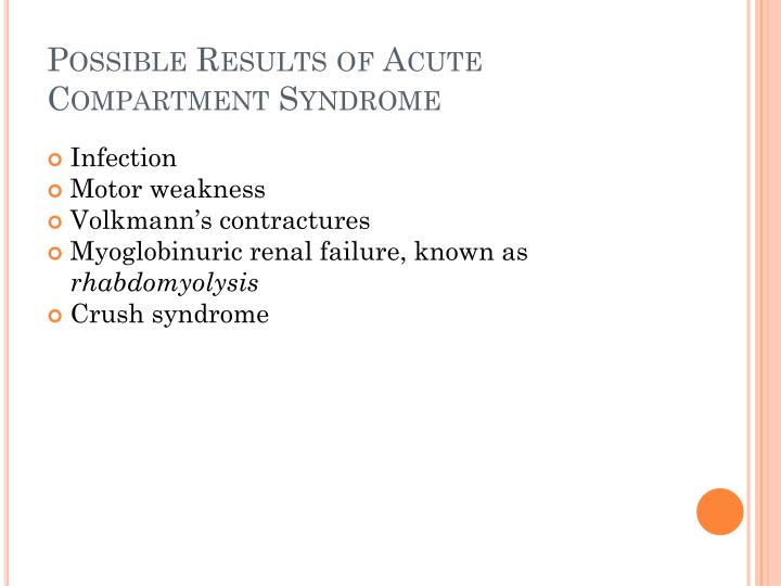Possible Results of Acute Compartment Syndrome
