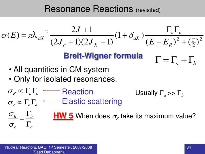 Resonance Reactions
