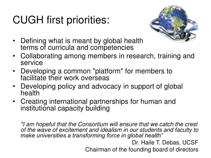 CUGH first priorities: