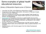 some examples of global health educational resources