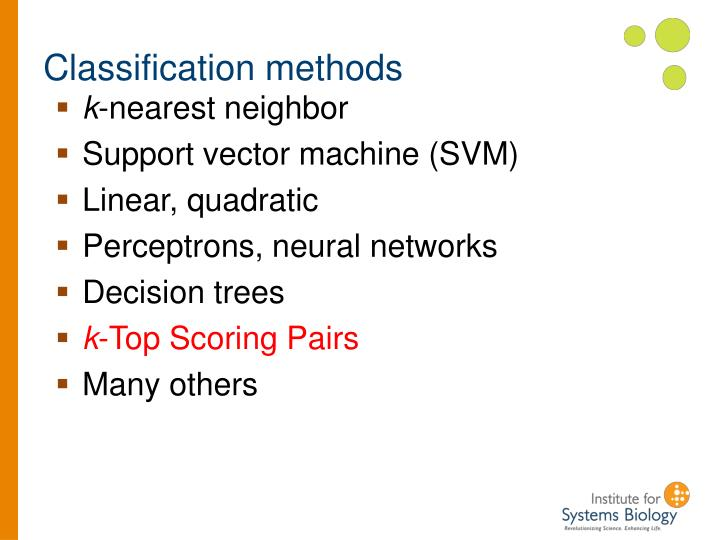 Classification methods