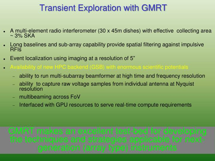 Transient Exploration with GMRT