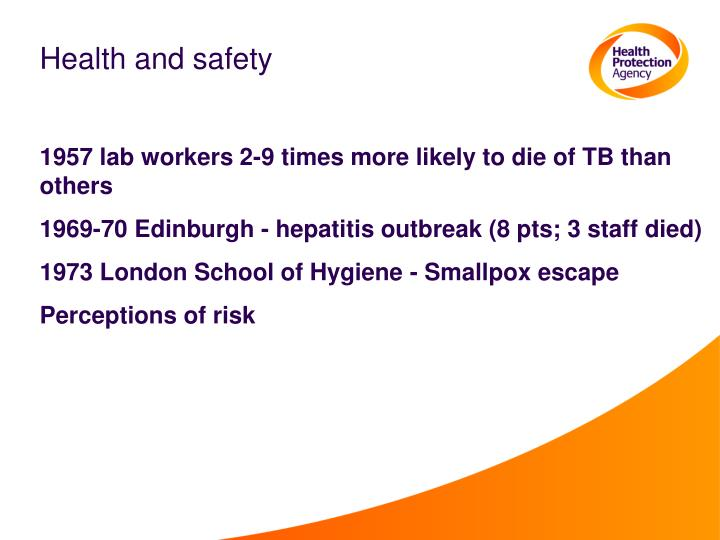Health and safety