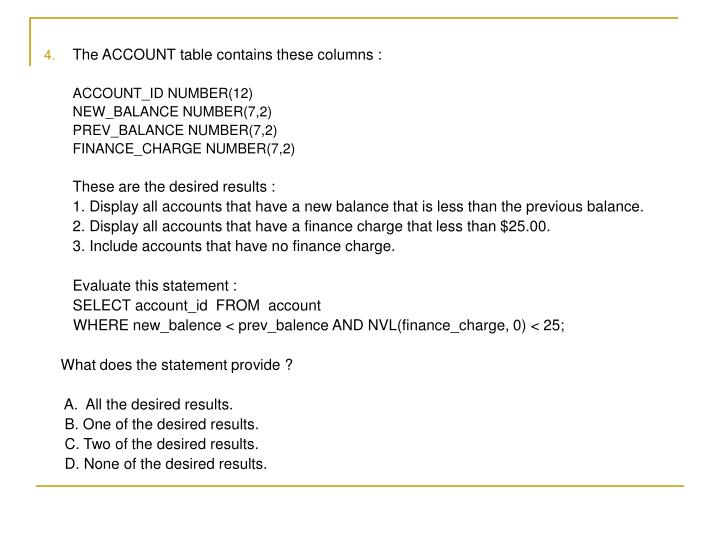 The ACCOUNT table contains these columns :