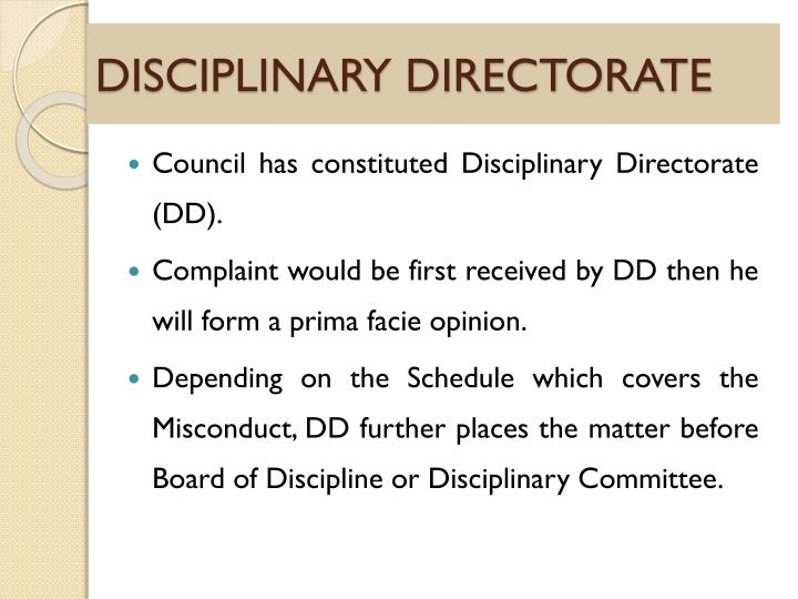 DISCIPLINARY DIRECTORATE