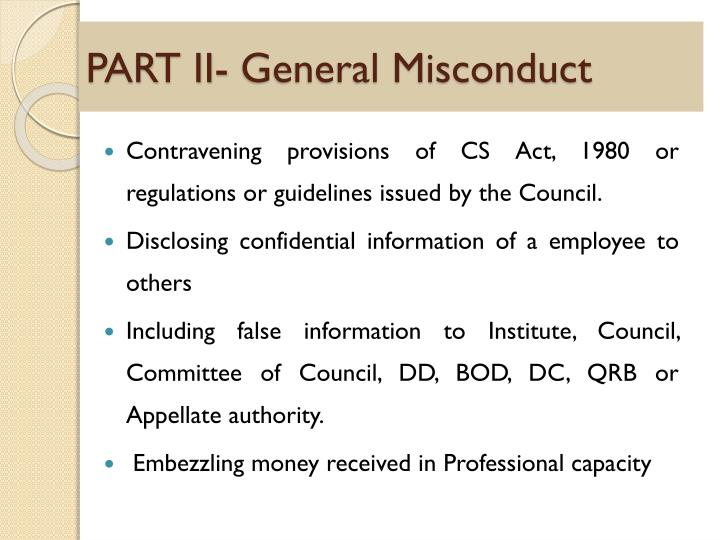 PART II- General Misconduct