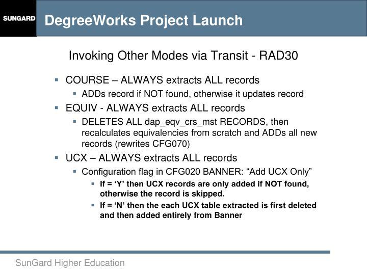 Invoking Other Modes via Transit - RAD30