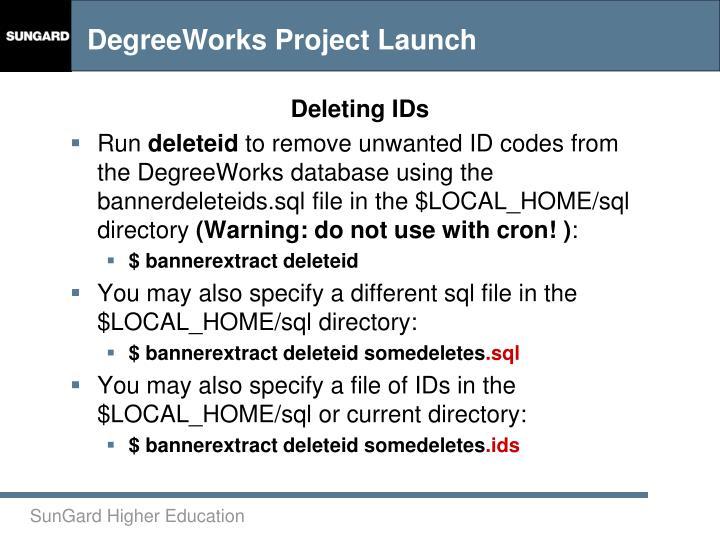 Deleting IDs