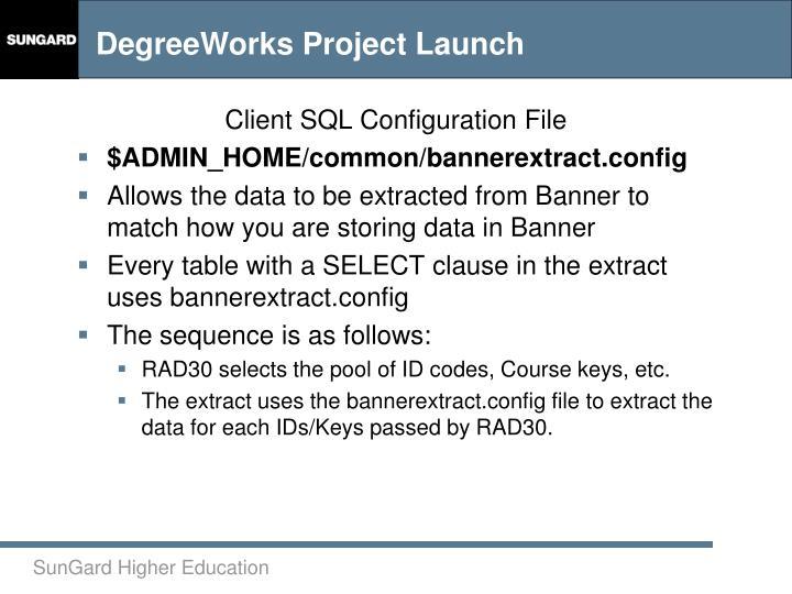 Client SQL Configuration File