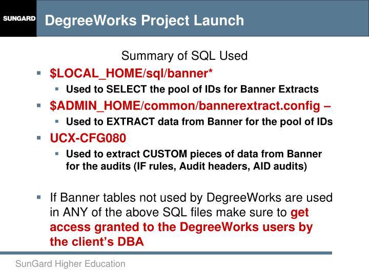 Summary of SQL Used