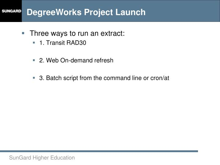Three ways to run an extract: