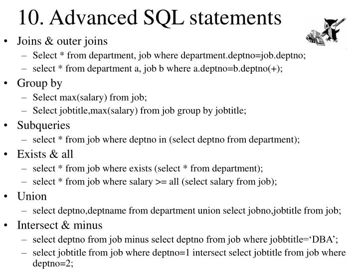 10. Advanced SQL statements