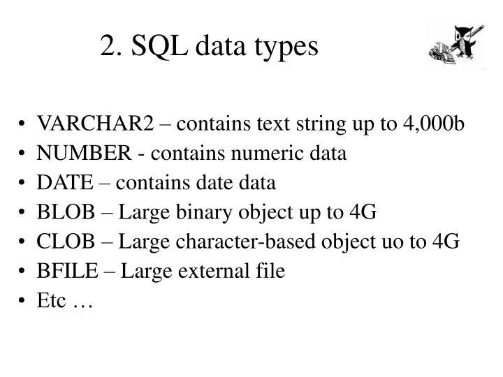 2. SQL data types