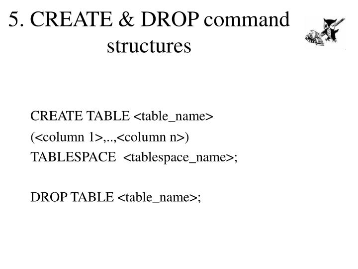 5. CREATE & DROP command structures
