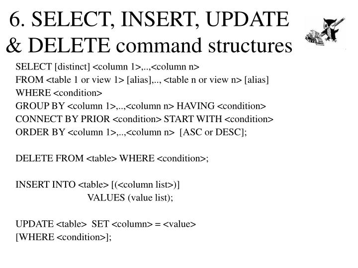 6. SELECT, INSERT, UPDATE & DELETE command structures