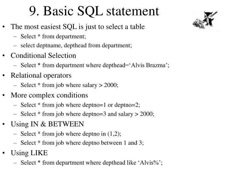 9. Basic SQL statement