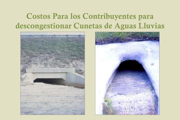 Costos Para los Contribuyentes para descongestionar Cunetas de Aguas Lluvias