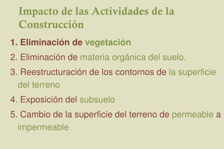 Impacto de las Actividades de la Construcción