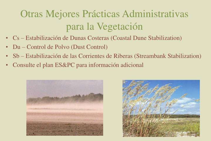 Otras Mejores Prácticas Administrativas para la Vegetación