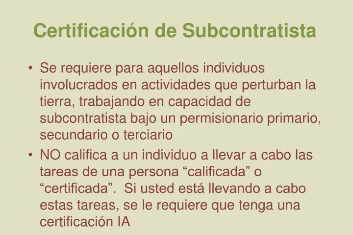 Certificación de Subcontratista