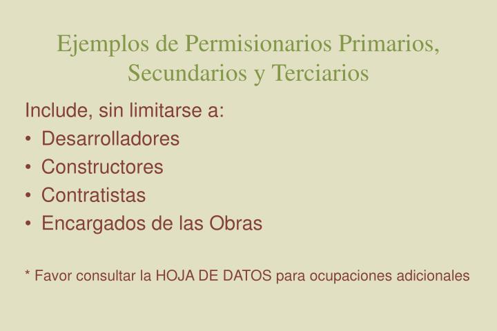 Ejemplos de Permisionarios Primarios, Secundarios y Terciarios