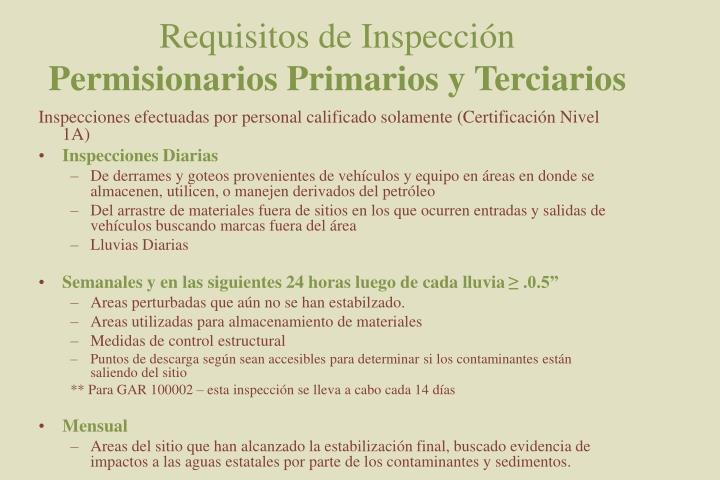 Requisitos de Inspección