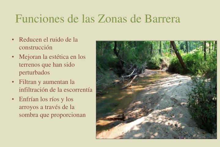 Funciones de las Zonas de Barrera