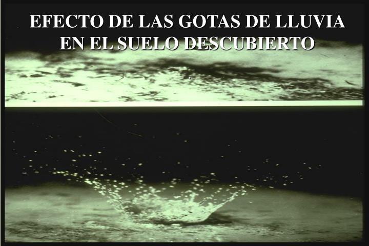 EFECTO DE LAS GOTAS DE LLUVIA EN EL SUELO DESCUBIERTO