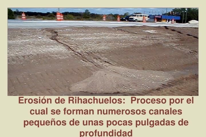 Erosión de Rihachuelos:  Proceso por el cual se forman numerosos canales pequeños de unas pocas pulgadas de profundidad