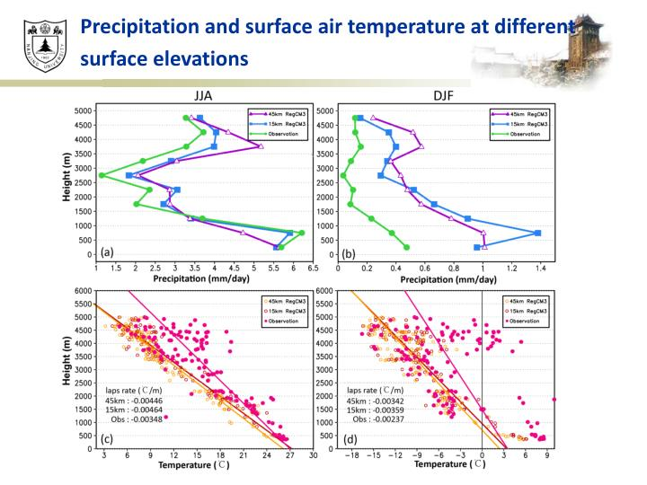 Precipitation and surface air temperature at different surface elevations