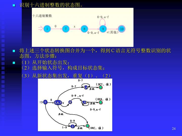 识别十六进制整数的状态图。