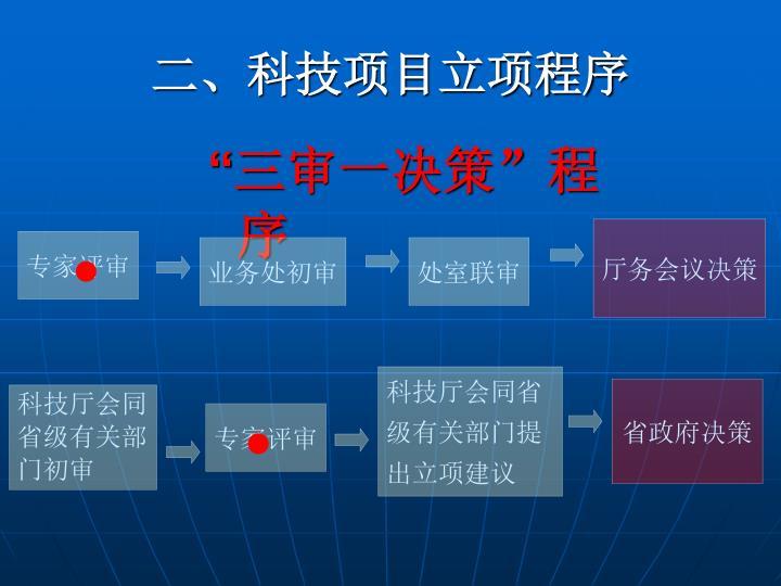 二、科技项目立项程序