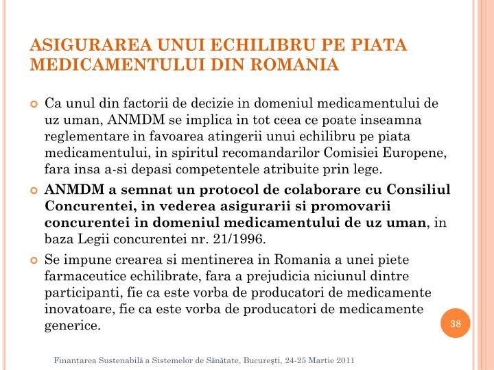 ASIGURAREA UNUI ECHILIBRU PE PIATA MEDICAMENTULUI DIN ROMANIA