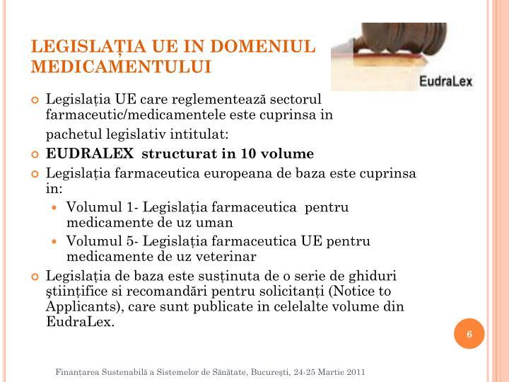 LEGISLAŢIA UE IN DOMENIUL MEDICAMENTULUI