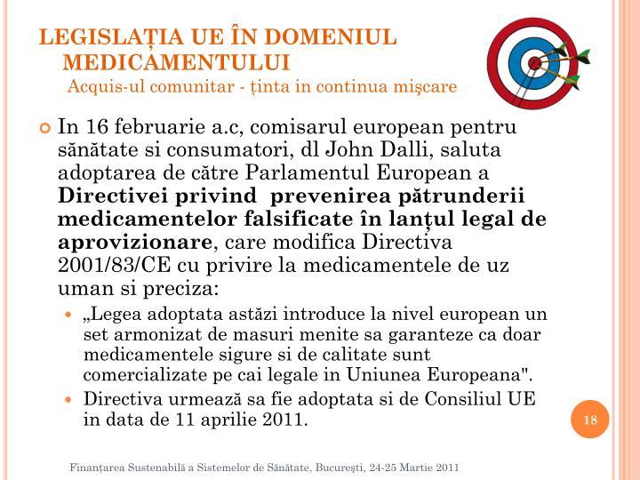 LEGISLAŢIA UE ÎN DOMENIUL MEDICAMENTULUI
