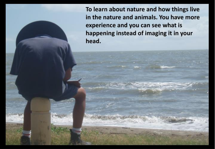 To learn about nature and how things live in the nature and animals. You have more experience and you can see what is happening instead of imaging it in your head.
