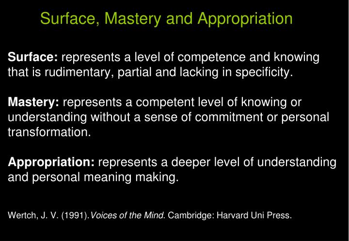Surface, Mastery and Appropriation