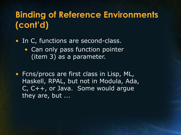 Binding of Reference Environments (cont'd)