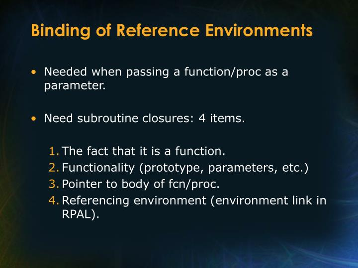 Binding of Reference Environments