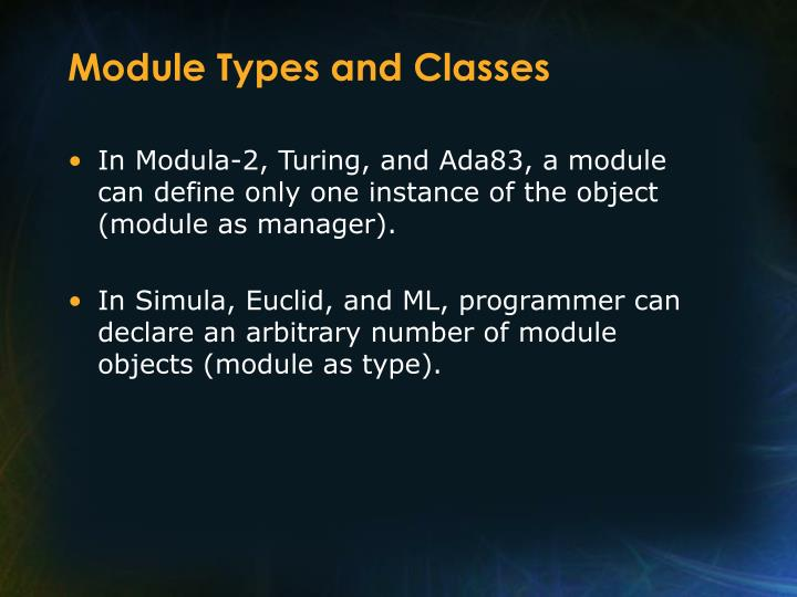 Module Types and Classes