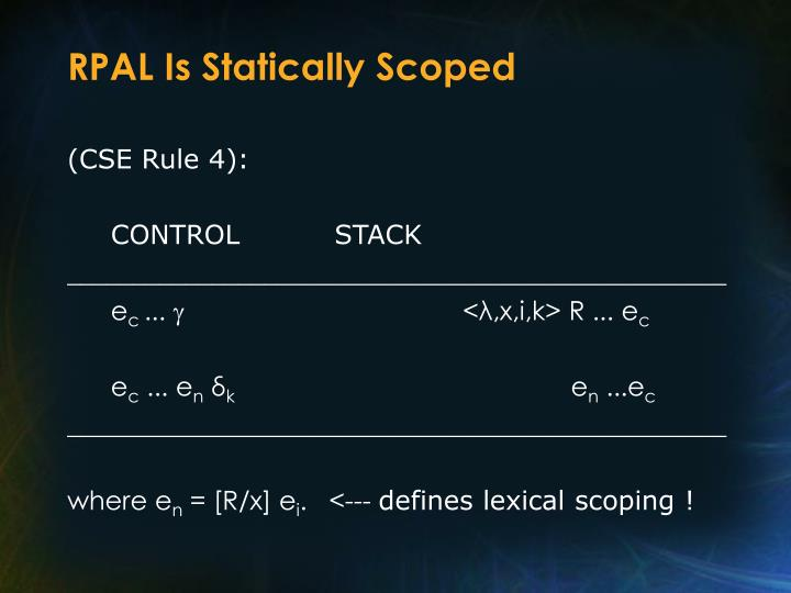 RPAL Is Statically Scoped