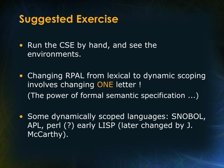 Suggested Exercise