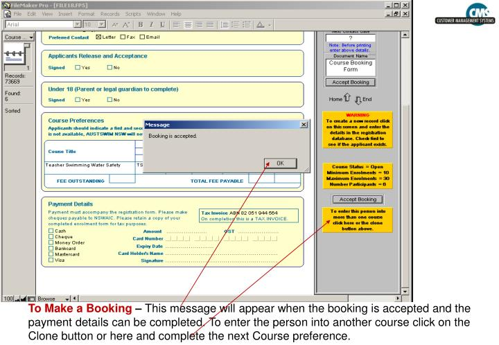 To Make a Booking