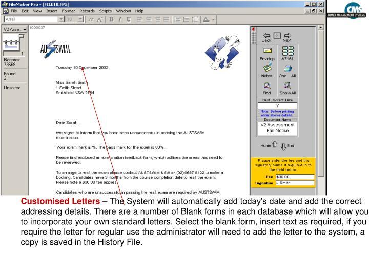 Customised Letters