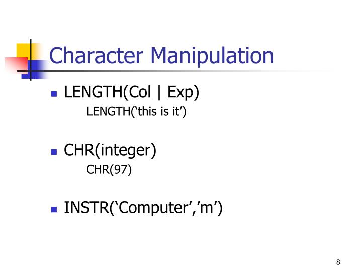 Character Manipulation