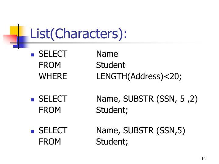 List(Characters):