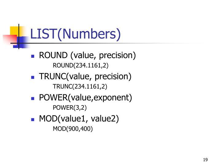 LIST(Numbers)