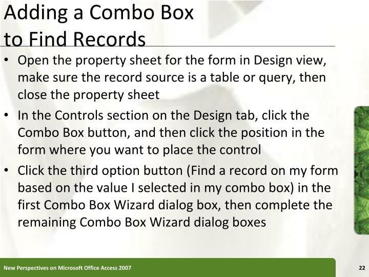 Adding a Combo Box